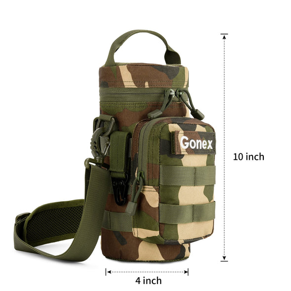 Gonex Military MOLLE Water Bottle Pouch with Front Pocket