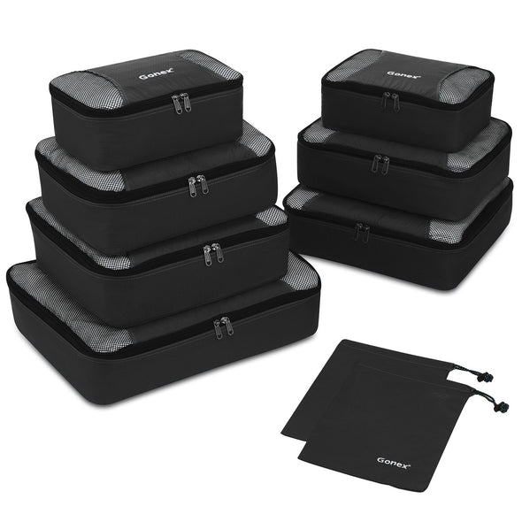 Gonex 9Pcs Rip-Stop Nylon Travel Packing Cubes