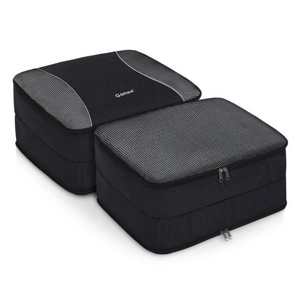 Double Sided Packing Cubes, Gonex Travel Suitcase Luggage Organizer 3 pcs Black