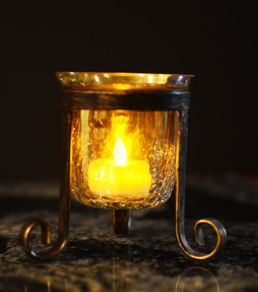 Crackle Glass Votive Tea Light Candle Holder Tripod-Gold