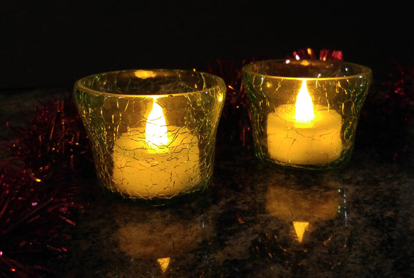 Crackle Glass Votive Tea Light Candle Holder-Green Set of 2