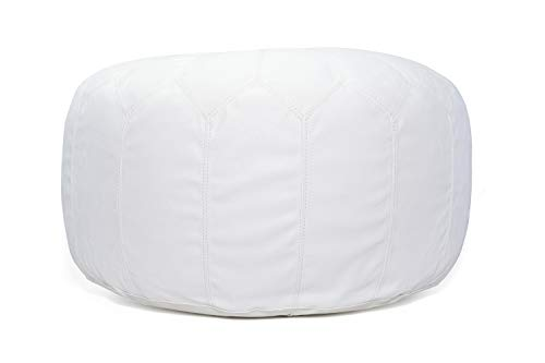 MystiqueDecors Large Leather Pouf Ottoman Handmade Moroccan Marrakesh Style Footstool with Hand Embroidered White Stitching - Ships Stuffed