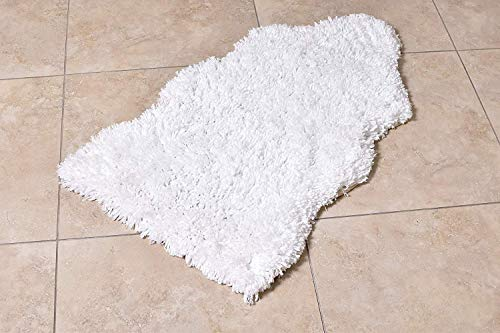 "MystiqueDecors Super Soft Snow White 20""x32"" Faux Sheepskin Shag Silky Microfiber Handmade Shaggy Rug for Baby Nursery Childrens Room"