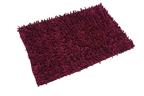 MystiqueDecors Shaggy Burgundy Red Shag Rug 2x3'' Carpet (24''x 36'') Doormat for Living Room Bedroom Bathroom Kitchen Entryway Area Rug