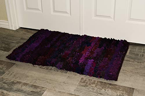 MystiqueDecors 2x3 ft Purple Shag Rug for Living Room Indoor Non-Slip Eco-Friendly Handwoven Cotton & Polyster Chindi Area Rug (24''x 36')