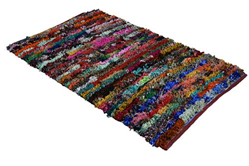 MystiqueDecors 3x5 ft Multicolor Shag Rug for Living Room Indoor Non-Slip Eco-Friendly Handwoven Cotton & Polyster Chindi Area Rug (36''x 60')