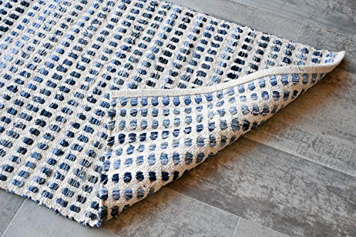 "MystiqueDecors Natural White & Blue Rug -Checkered Indoor Large Door Mat - Non-Slip Eco-Friendly 100% Denim & Cotton Chindi Area Rug (27""X45"")"