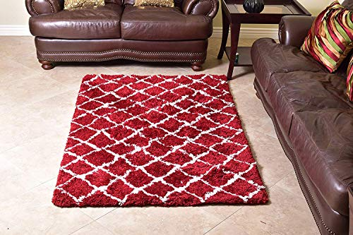 MystiqueDecors Shaggy 4 X 6' Maroon/Red & White Moroccan Trellis Design Shag Rug Soft Contemprary Living Room, Bedroom Handmade Microfiber Area Rug