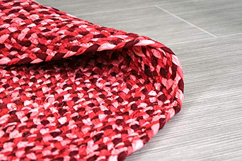 5 ft Red Round Cotton Area Rug