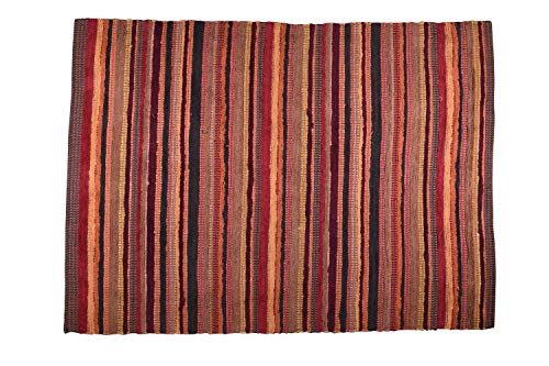 MystiqueDecors 5x7' Area Rug for Living Room - Red & Burgundy Indoor Non-Slip Eco-Friendly 100% Recycled Cotton Chindi Rug (60 X 84)