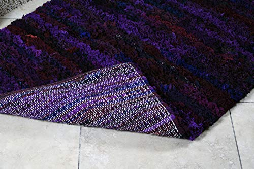 MystiqueDecors 3x5 ft Purple Shag Rug for Living Room Indoor Non-Slip Eco-Friendly Handwoven Cotton & Polyster Chindi Area Rug (36''x 60')