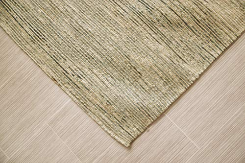 MystiqueDecors Hand Tufted Light Silver Gray Jute & Viscose 5x8' Area Rug Large Modern Soft Striped Carpet Family Media Living Bar Room Bedroom Dining Room Rugs