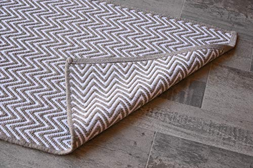 Beige & White Cotton Door mat Rug Indoor Outdoor - 2x3' Zig Zag Entrance Entryway Rug Non Slip Kitchen Bath Mat Home Décor, (24 x 36)