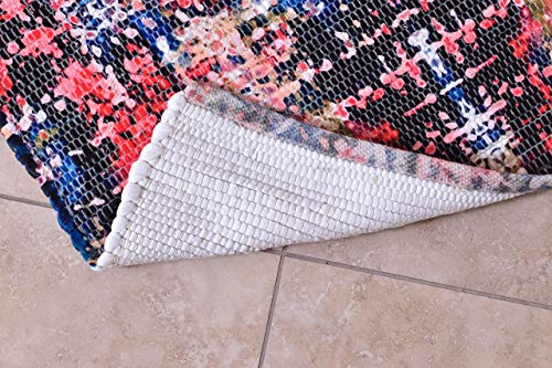 Multicolor Wool & Cotton Abstract Modern Door Mat Rug for Living Room Kitchen Entry Door Bathroom Indoor Non Slip Bath Rugs 27x45