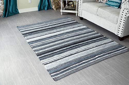 MystiqueDecors 5x7' Area Rug for Living Room - Grey & Black Indoor Non-Slip Eco-Friendly 100% Recycled Cotton Chindi Rug (60 X 84)