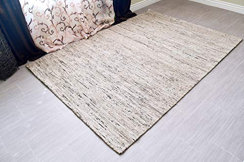 MystiqueDecors Hand Tufted Grey Jute & Viscose 5x8' Area Rug Large Modern Soft Striped Carpet Family Media Living Bar Room Bedroom Dining Room Rugs