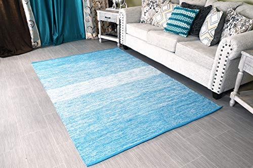 "MystiqueDecors 5x7' Area Rug Turquoise Blue & White for Living Room - Indoor Outdoor Reversible Eco Friendly 100% Recycled Cotton Chindi Rug (63""x90"")"