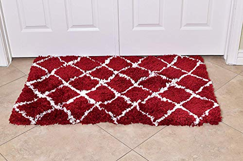 MystiqueDecors Shaggy 27X45 Maroon/Red & White Moroccan Trellis Design Shag Rug Soft Contemprary Living Room, Bedroom Handmade Microfiber Area Rug