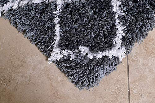MystiqueDecors Shaggy 27X45 Gray & White Moroccan Trellis Design Shag Rug Soft Contemprary Living Room, Bedroom Handmade Microfiber Area Rug