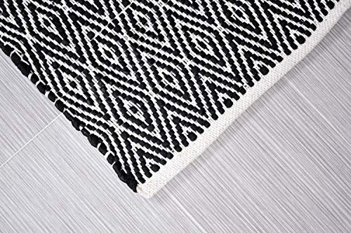 MystiqueDecors 3x5' Rug for Living Room - Natural White & Black Diamond Hand Woven Design Indoor Non-Slip Eco-Friendly 100% Cotton Area Rug (36 X 60)