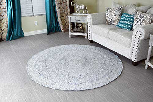 MystiqueDecors 6 ft White Round Wool Rug for Living Room Braided Non-Slip Reversible Handwoven Area Rug 6'
