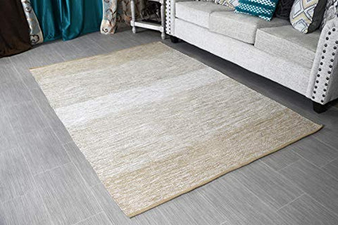 "MystiqueDecors 5x7' Area Rug Beige & White for Living Room - Indoor Outdoor Reversible Eco Friendly 100% Recycled Cotton Chindi Rug (63""x90"")"