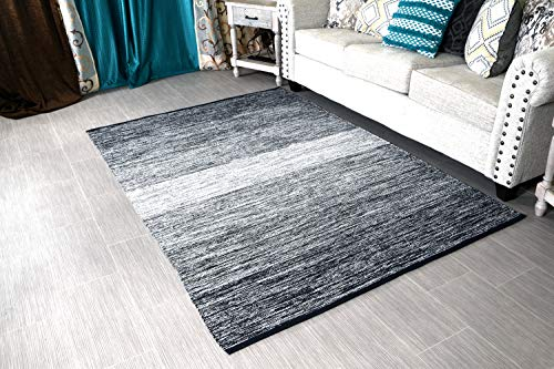"MystiqueDecors 5x7' Area Rug Black & White for Living Room - Indoor Outdoor Reversible Eco Friendly 100% Recycled Cotton Chindi Rug (63""x90"")"