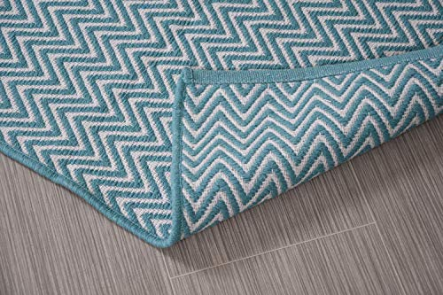 Turquoise Blue & White Cotton Door mat Rug Indoor Outdoor - 2x3' Zig Zag Entrance Entryway Rug Non Slip Kitchen Bath Mat Home Décor, (24 x 36)