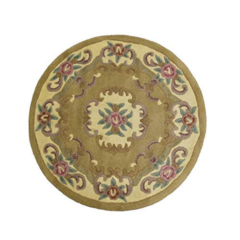 MystiqueDecors Beige Round Woolen 4' Area Rug Modern Wool Carpet for Living Dining Room Bedroom Rugs Canvas Backing