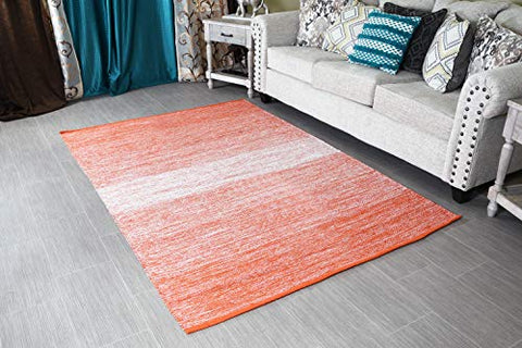 "MystiqueDecors 5x7' Area Rug Orange & White for Living Room - Indoor Outdoor Reversible Eco Friendly 100% Recycled Cotton Chindi Rug (63""x90"")"