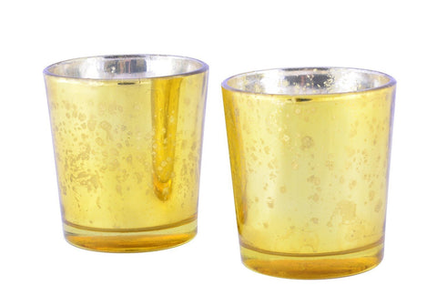 Mercury Finish Tea Light Votive Candle Holders-Gold Set of 2