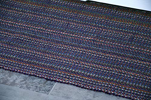 MystiqueDecors Purple 2x3' Doormat Rug Hand Woven (Set of 2) Cotton Area Rugs for Entryway Kitchen - Reversible Non Slip Machine Washable Mat