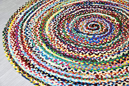 MystiqueDecors 5 ft Multicolor Round Area Rug for Living Room Braided Non-Slip Reversible Cotton Chindi Handwoven Rug 5'
