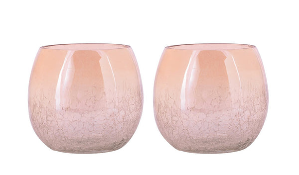 Crackle Glass Votive Tea light Candle Holder Set of 2