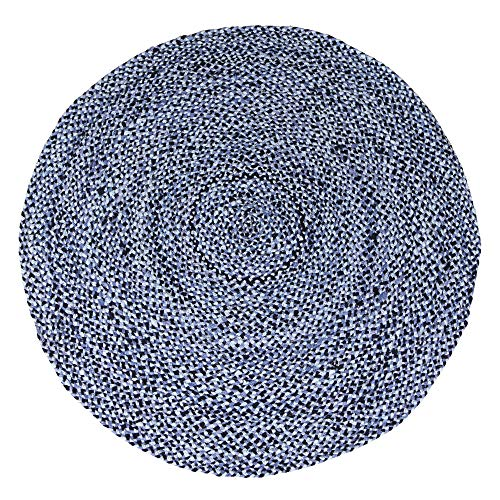 5 ft Blue Round Cotton Area Rug