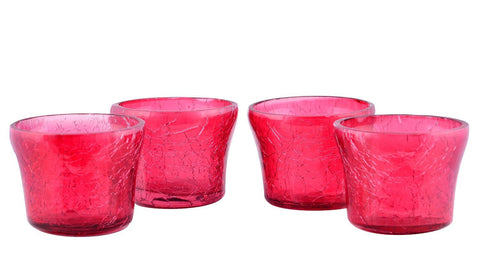 Crackle Glass Candle Holders Tea Light Votive-Red Set of 4
