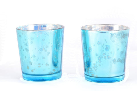 Mercury Finish Tea Light Votive Candle Holders-Aqua Blue Set of 2