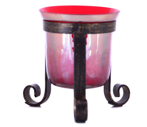 Crackle Glass Votive Tea Light Candle Holder Tripod-Red