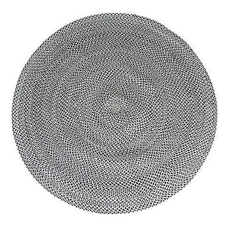 5 ft Grey Black & White Round Cotton Area Rug