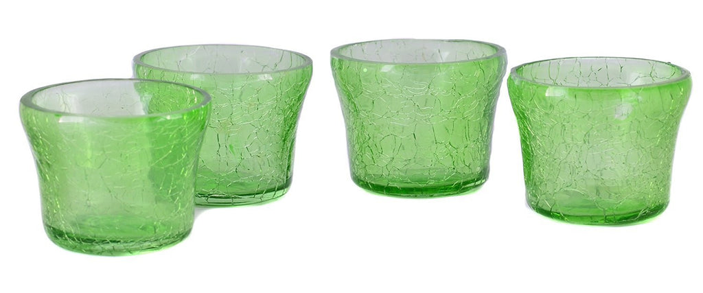 Crackle Glass Candle Holders Tea Light Votive-Green Set of 4