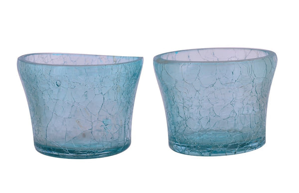 Crackle Glass Votive Tea Light Candle Holder-Blue Set of 2