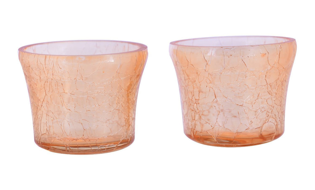 Crackle Glass Votive Tea Light Candle Holder-Gold Set of 2