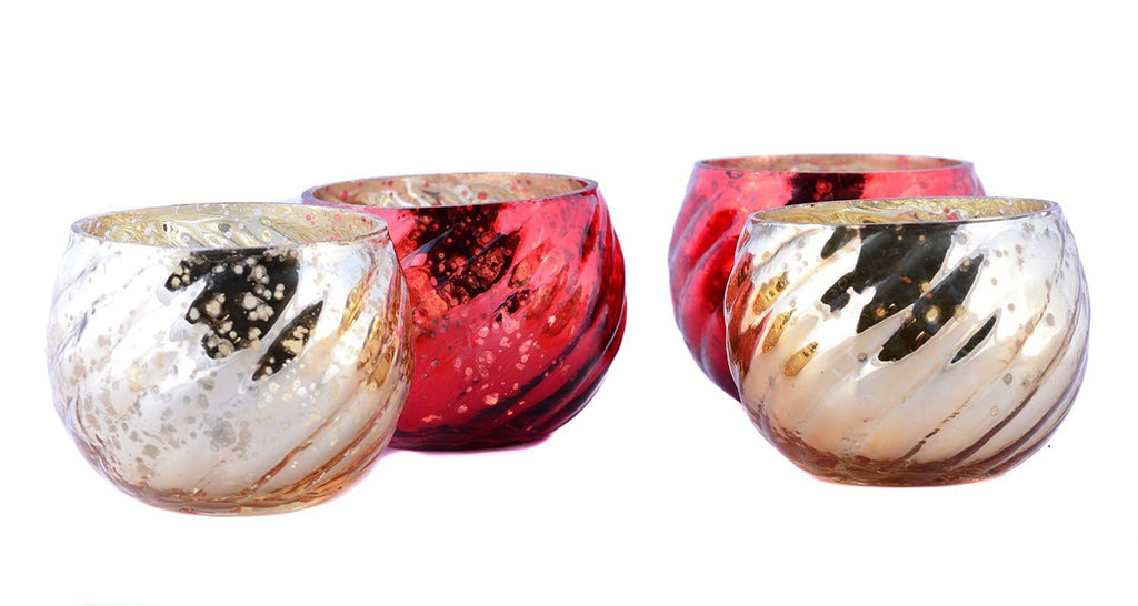 Antique Finish Tea Light Votive Candle Holders-Red-Gold Set of 4