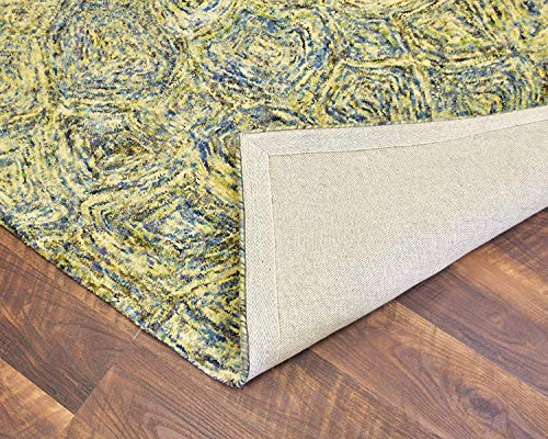 MystiqueDecors 5x8' Area Rug Hand Tufted Blue Green Yellow Tone Wool Abstract Carpet Family Living & Dining Room Bedroom Woolen Rugs
