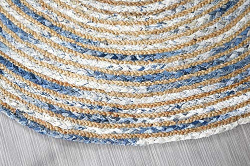 MystiqueDecors 5 ft Blue Round Rug for Living Room Braided Denim & Jute Non-Slip Reversible Cotton Chindi Handwoven Area Rug 5'