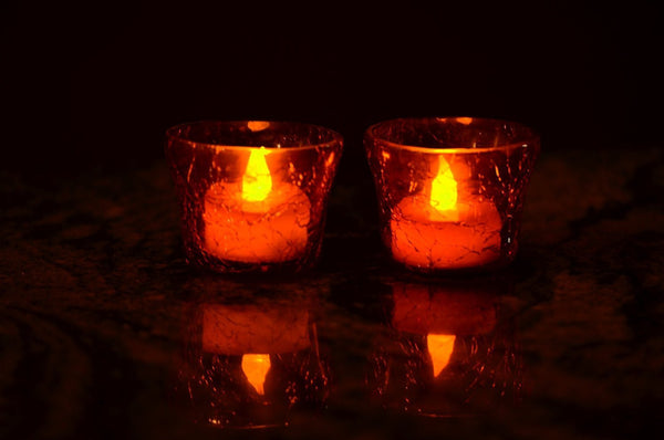 Crackle Glass Votive Tea Light Candle Holder-Red Set of 2