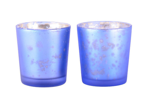 Mercury Finish Tea Light Votive Candle Holders-Blue Set of 2