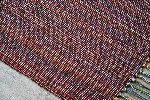 MystiqueDecors Red 2x3' Doormat Rug Hand Woven (Set of 2) Cotton Area Rugs for Entryway Kitchen - Reversible Non Slip Machine Washable Mat