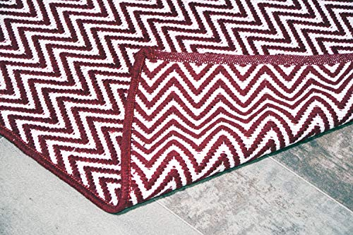 Burgundy Red & White Cotton Door mat Rug Indoor Outdoor - 2x3' Zig Zag Entrance Entryway Rug Non Slip Kitchen Bath Mat Home Décor, (24 x 36)