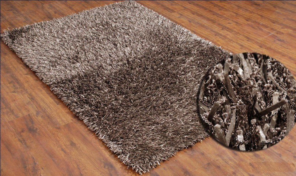 5x7 ft Shaggy Beige Soft Carpet Hand Tufted Area Rug Polyester Shag Family Media Living Bedroom Kids Room Dining